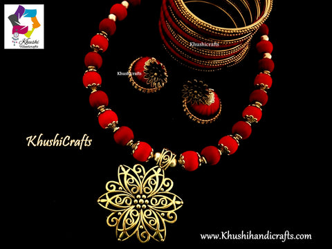Red Maroon silk thread Necklace set with Flower Pendant and a set of bangles!
