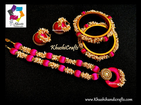 Pink Silk Thread Jewellery set with Loreals ,matching Jhumkas and Silk thread bangles!