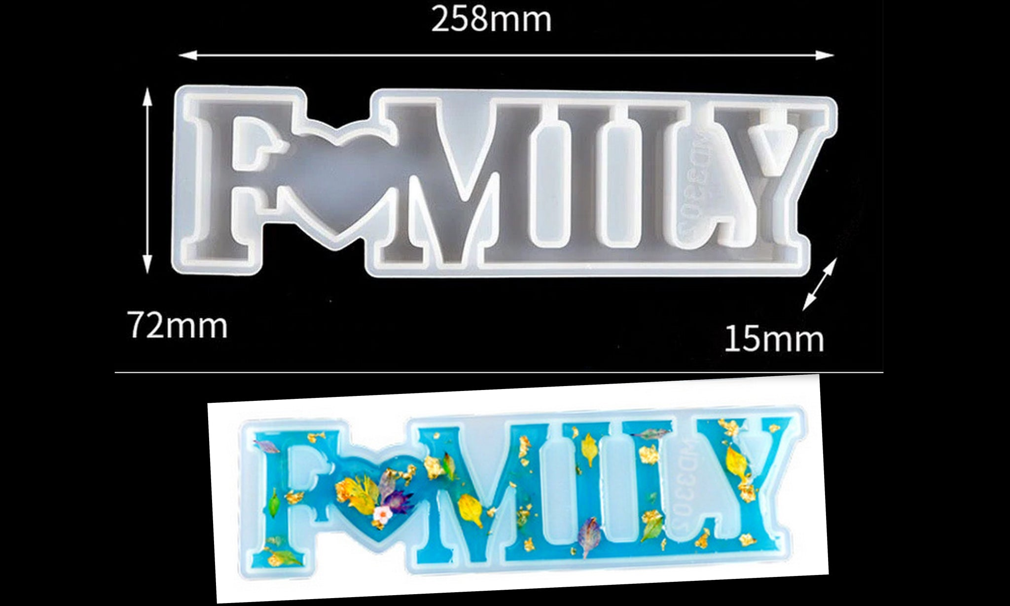 FAMILY Word Letter Mold Mould for Baking,Cake,Chocolate,Clay and Resin crafts