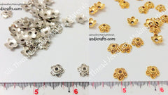 Gold / Silver  Flower Bead Caps Style 1 -BC14