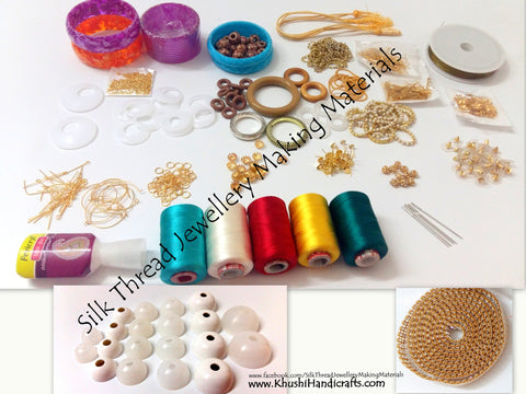 Silk Thread Jewellery Making Kit with all moulds/thread spools and Jewelry findings