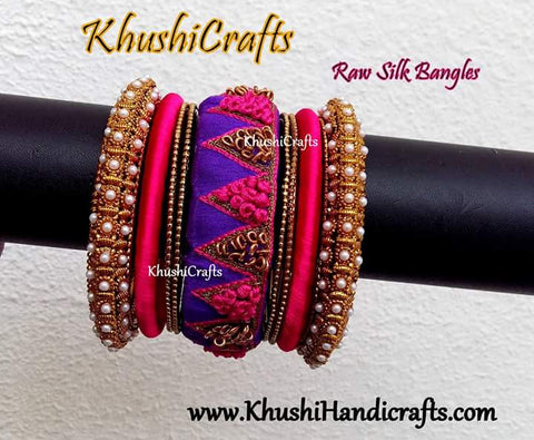 Designer Raw Silk / Cloth Bangles in Purple and pink with maggam / aari work