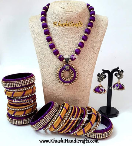 Purple Silk Thread set including bangles