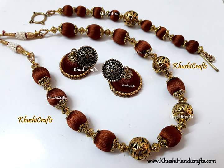 Bronze Silk Thread jewellery set - Khushi Handmade Jewellery