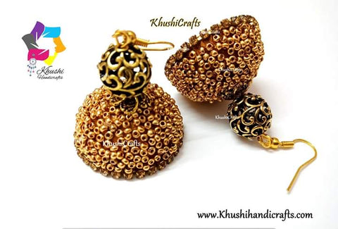 Designer beaded Silk Jhumkas