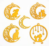 Cat Moon Bezel Pendant Frames Combo for Resin Crafts Jewellery Making