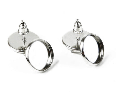 Rhodium Blank Base bezels Earrings (fits 12MM glass cabochons),Sold as 10 pieces!