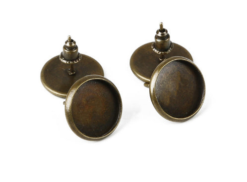 Bronze Blank Base bezels Earrings (fits 12MM glass cabochons),Sold as 10 pieces!