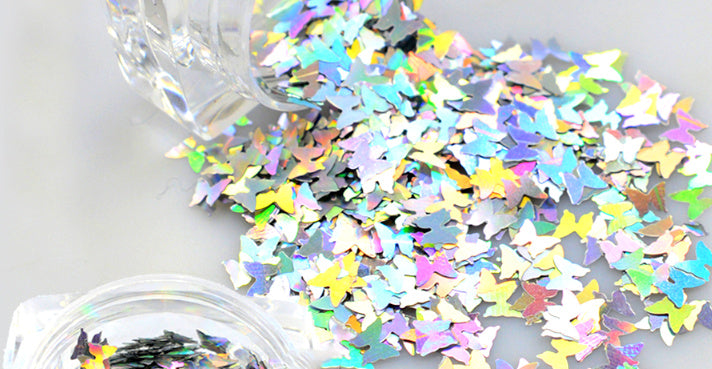 Small Holographic Silver Butterflies For Resin Crafts ,Jewelry Mold Filling and Nail art