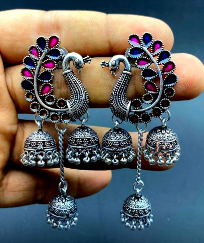 German Silver /Designer Oxidized Peacock Enamel Multiple Jhumka Earrings!