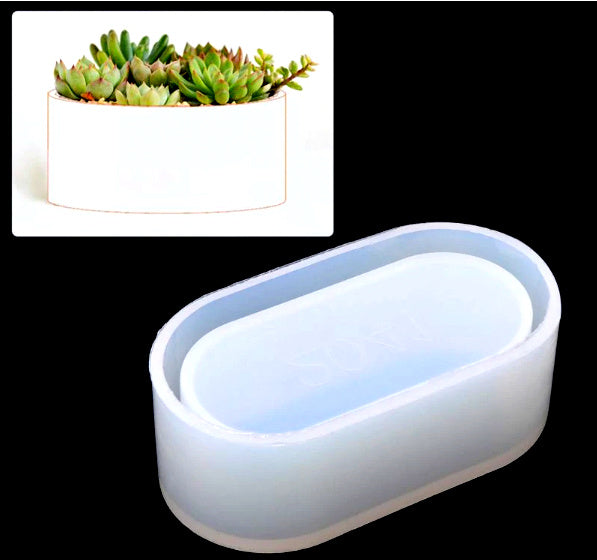 Long Flower Pot Plant holder Small Mould Silicone Mold for casting UV Resin,Epoxy resin and concrete
