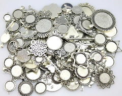 100 g Mix Designs Antique Silver Round Cabochon Bases for Jewelry making!