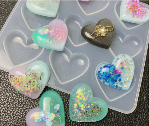 Puffy Heart Silicone Mold For Making Resin Pendants,charms,Fridge magnets and Keychains