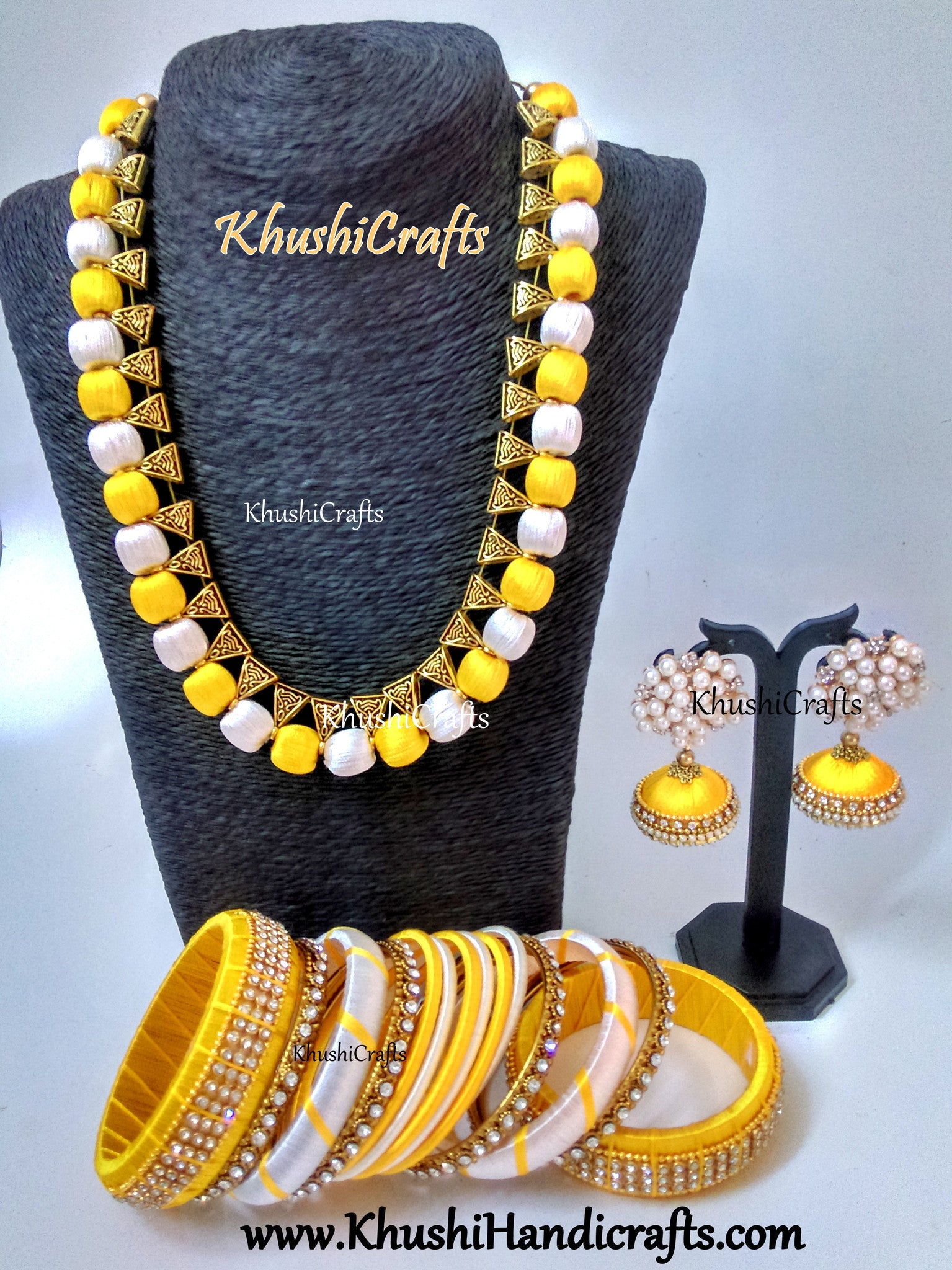 Yellow and Off White Silk Thread Jewellery set with matching bangles and Mukta Jhumkas!