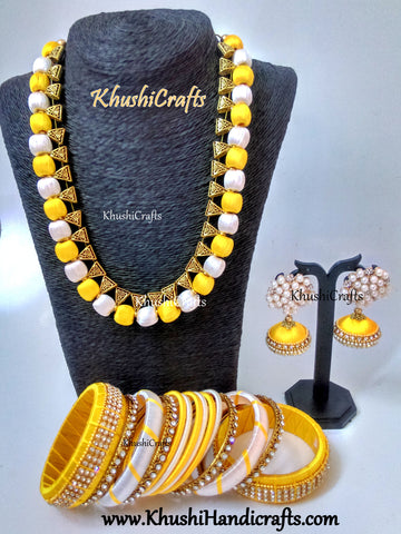 Yellow and Off White Silk Thread Necklace set with matching bangles and Mukta Jhumkas!