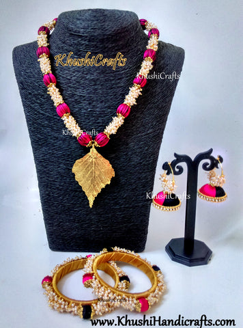 Pink and Black silk set with Loreals ,matching Jhumkas and Silk thread bangles!