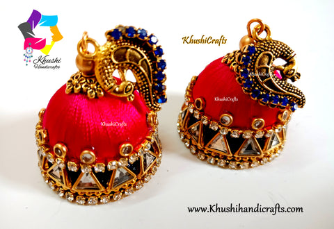 Peacock Silk thread Double Jhumkas
