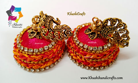 Peacock Pink Silk Thread Jhumkas with crochet work!