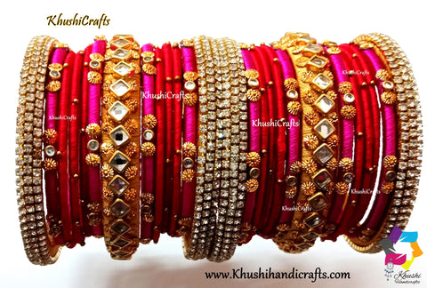 Red Pink and Gold Silk thread Designer Bridal Chura Bangles