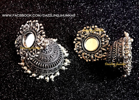 German Silver Mirror Oxidised Big Jhumkas