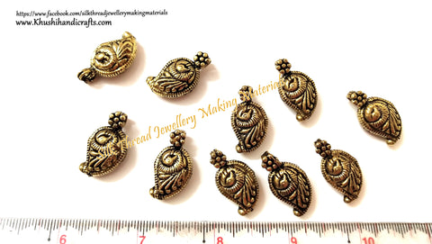Kolhapuri Beads Antique Gold Peacock Pattern 23.Sold Per piece!
