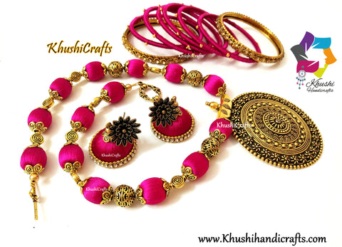 Pink shaded Silk Thread Handmade Necklace set with Bangles and Jhumkas