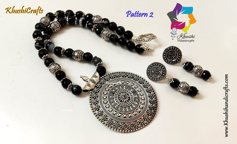 Black Semiprecious Agate Necklace with German silver Pendant and dangler earrings Pattern 2