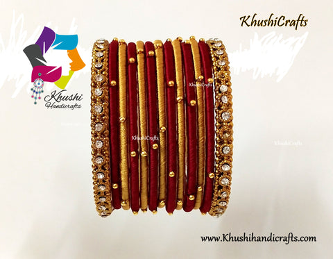 Maroon Gold Silk Thread Beaded Bangles