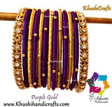 Purple Gold Silk Thread Beaded Bangles