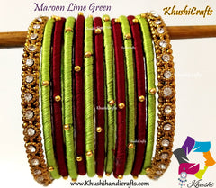 Maroon Green Silk Thread Beaded Bangles