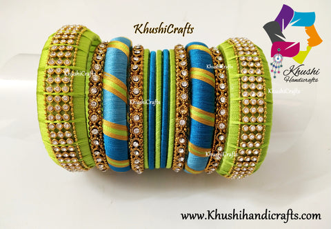 Lime Green and Peacock shaded Designer Silk Thread Bangles