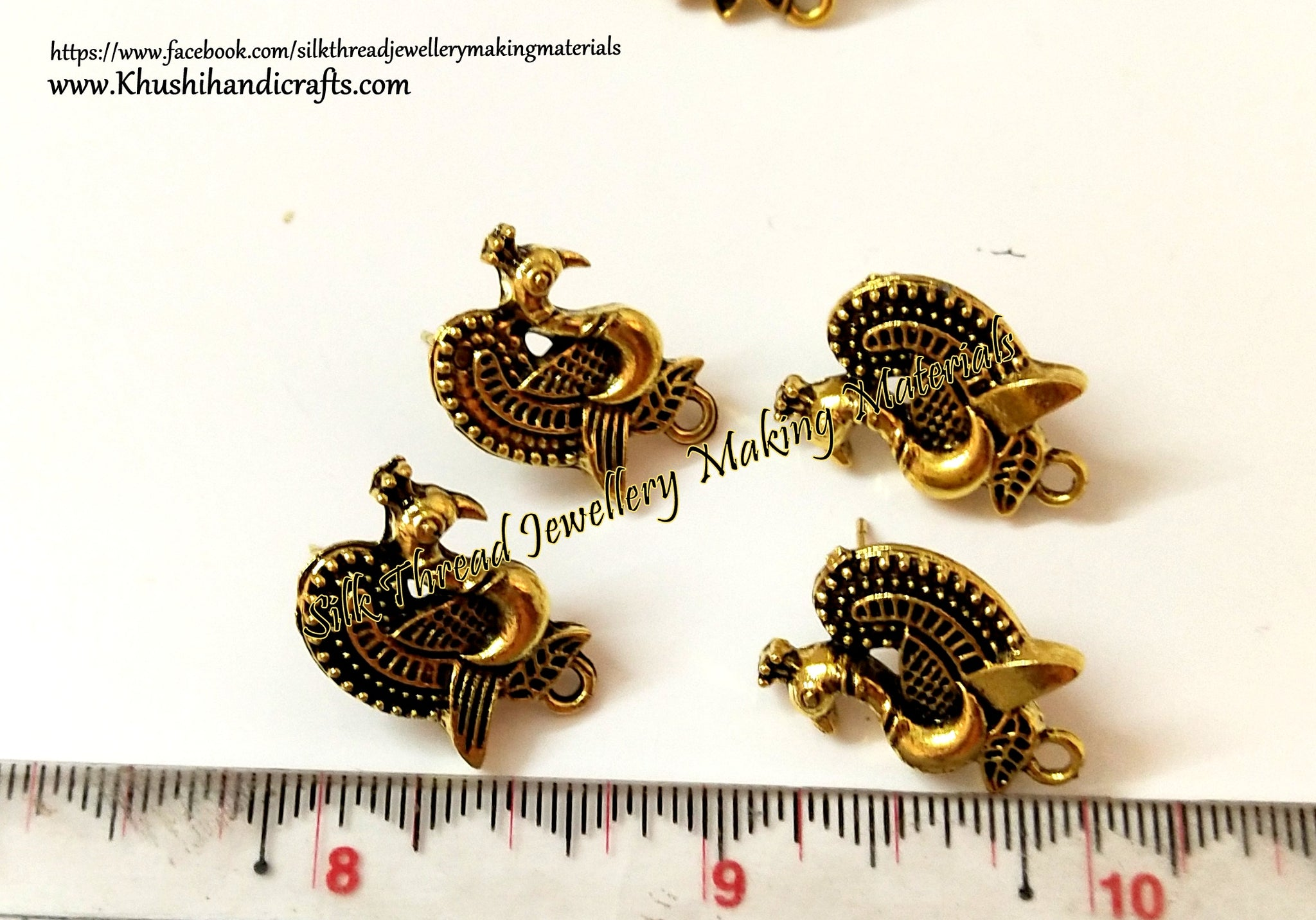 Antique Gold / Silver Peacock Stud pattern 13 -ST37