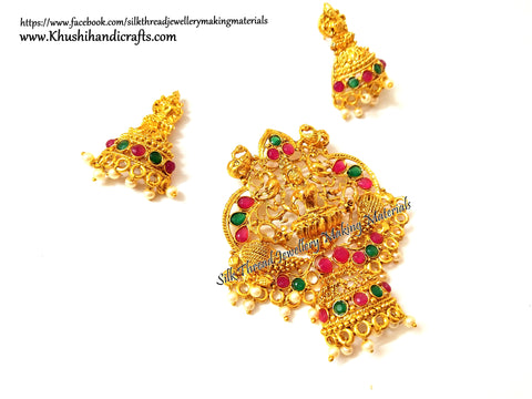 Antique Gold Lakshmi Pendant and earrings with beautiful stones-Pattern 11!
