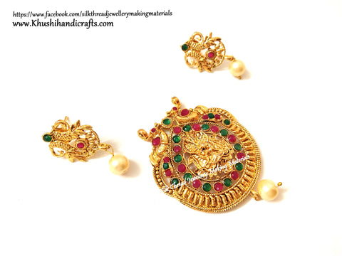 Antique Gold Lakshmi Pendant and earrings with beautiful stones-Pattern 12