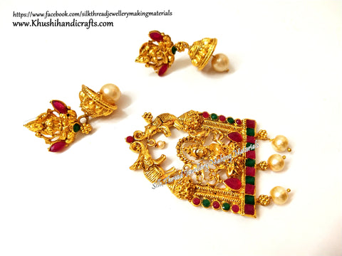 Antique Gold Lakshmi Pendant and earrings with beautiful stones-Pattern 13