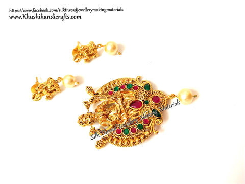 Antique Gold Lakshmi Pendant and earrings with beautiful stones-Pattern 14