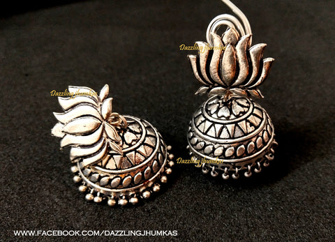 German Silver Lotus Jhumkas 3
