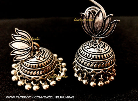 German Silver Lotus Jhumkas 2