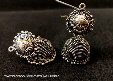 German Silver /Oxidised Durga Temple style Jhumkas