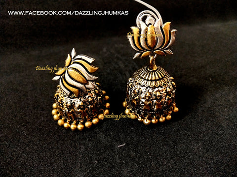German Silver Lotus Jhumkas 5