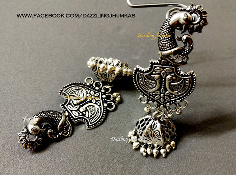 German Silver Oxidised Peacock Dangler Jhumkas 1