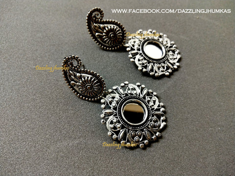 German Silver Oxidised Mirror earrings Pattern 4