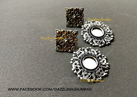 German Silver Oxidised Mirror earrings Pattern 5