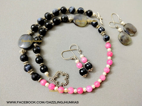 Pink and Black Agate Semiprecious Necklace with dangler earrings!
