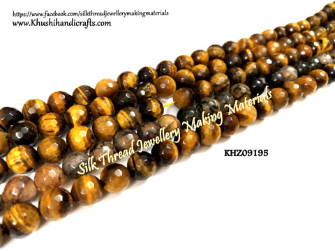Tiger Eye Beads-Natural Faceted Round Shaded Agates - 8mm - Gemstone Beads - KHZ09195