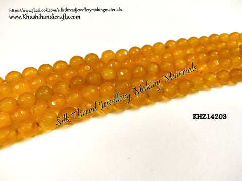 Natural Faceted Round Yellow Agates - 8mm - Gemstone Beads - KHZ14203