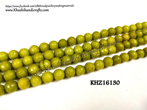 Natural Faceted Round Green Agates - 8mm - Gemstone Beads - KHZ16130