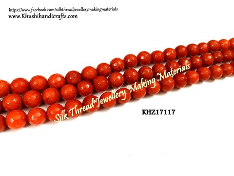 Natural Faceted Round Orange Agates - 8mm - Gemstone Beads - KHZ17117