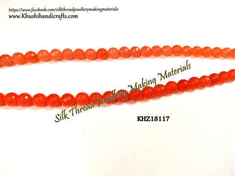 Natural Faceted Round Orange Agates - 8mm - Gemstone Beads - KHZ18117