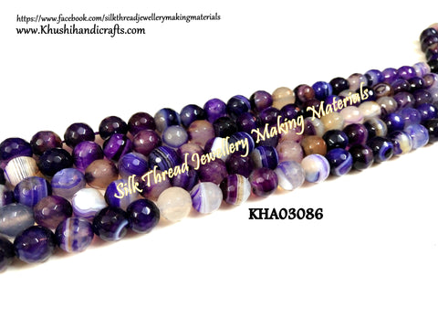 Natural Faceted Round Shaded purple Agates - 10 mm - Gemstone Beads - KHA03086